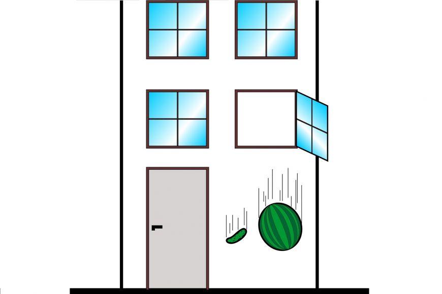 Obrázek 3: Volný pád okurky amelounu.