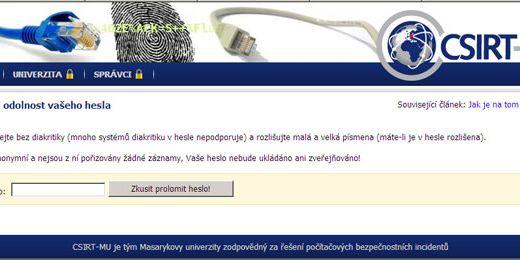 Prostřednictvím aplikace také zjistíte, jaká je odolnost hesla proti útoku hrubou silou a jaké prvky do hesla doplnit, abyste zvýšili jeho odolnost. Screenshot: security.ics.muni.cz