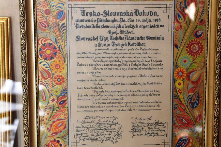 Před 96lety zde společně sdalšími signatáři podepsal Tomáš Garrigue Masaryk dohodu, jež se stala zakládajícím dokumentem společného státu Čechů aSlováků.