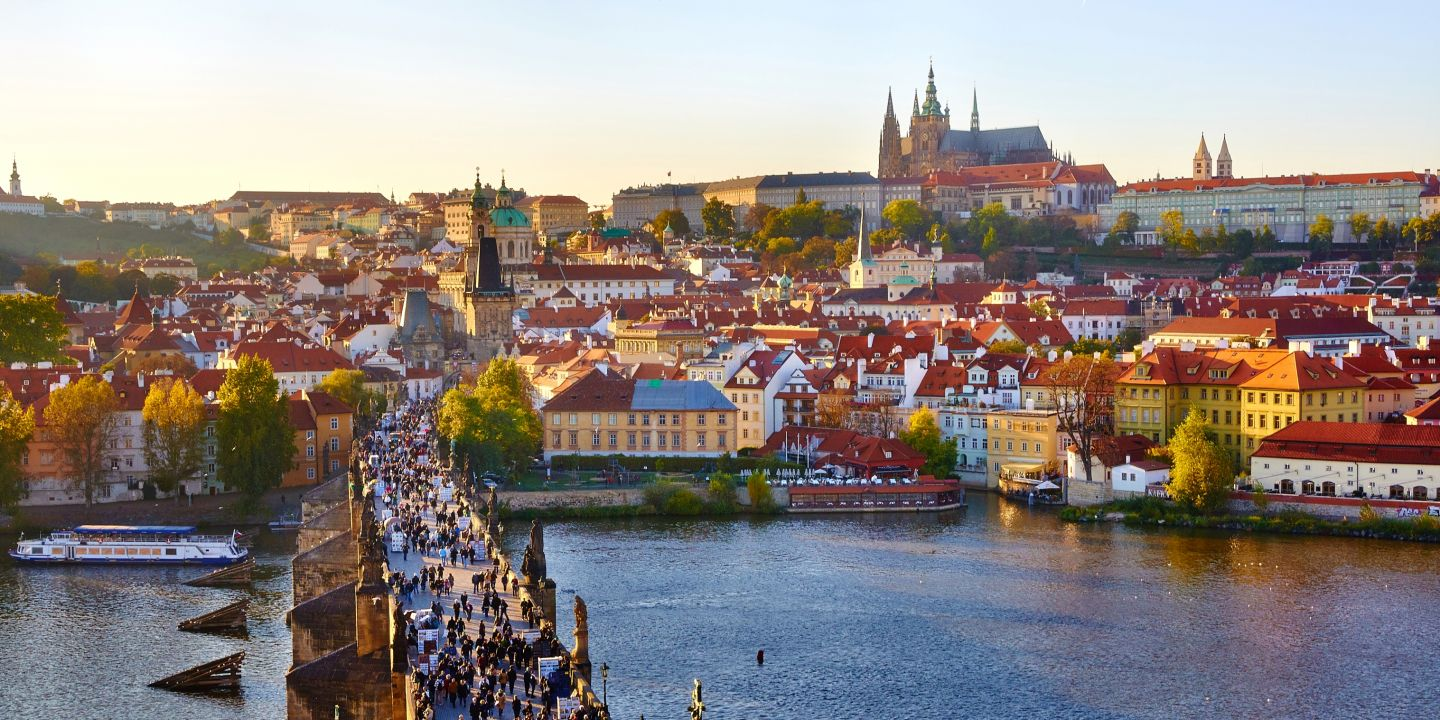Prague and its famous Charles Bridge and Castle and St Vitus Cathedral.