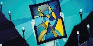 Ukázka grafiky z výstavy ilustrující duševní nemoci.