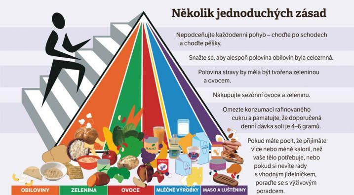Myslete na rozmanitost, to je časté doporučení odborníků. Barevně odlišené skupiny znázorňují, jaké potraviny a v jakém poměru by měly být základem jídelníčku. Zdroj: USDA/choosemyplate.gov.