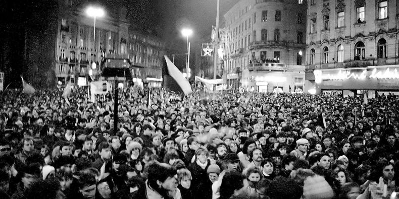 Picture from 1989 when Svoboda Square was full of people protesting against the regime.