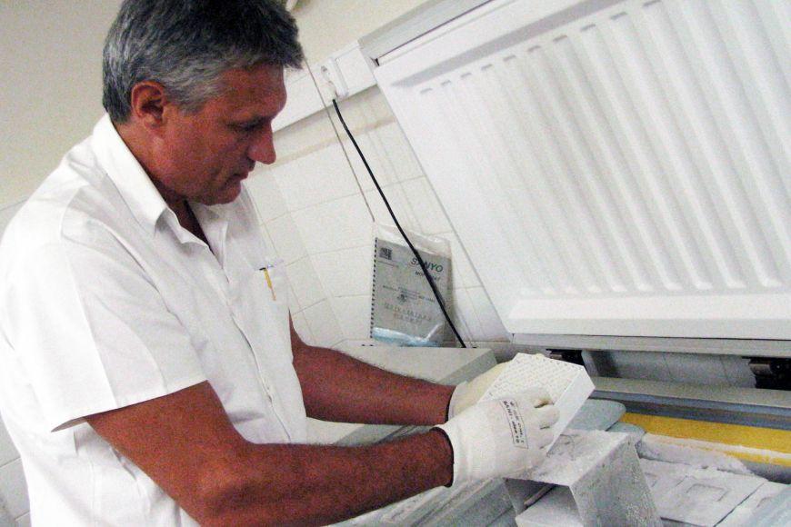 Mikroorganismy se uchovávají také hlubokozamrazicích boxech, kde je -70 stupňů Celsia.