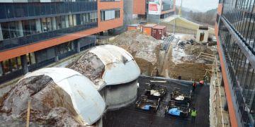 Vývoj stavby laboratoří v kampusu k 19. lednu 2012. Foto: David Povolný.