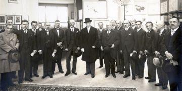 První československý prezident Tomáš Garrigue Masaryk na Výstavě soudobé kultury v Brně v roce 1928