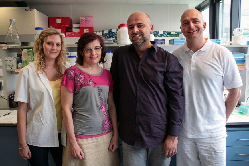 Tým pracující na telomerách, zleva: Veronika Muchová, Miloslava Fojtová, Jiří Fajkus aCtirad Hofr.