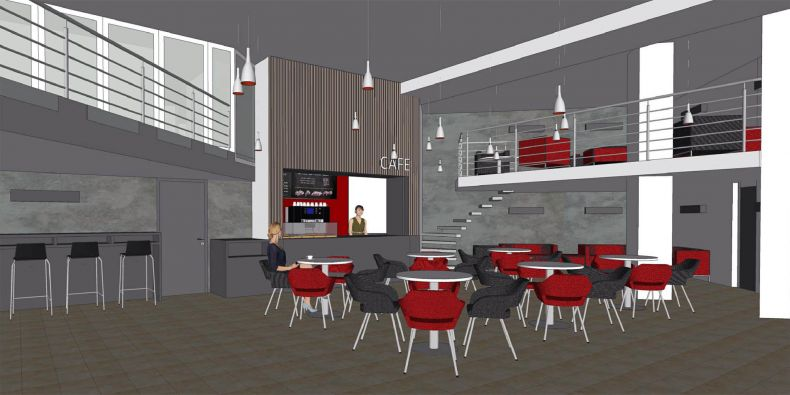Vizualizace nové kavárny na Ekonomicko-správní fakultě MU.