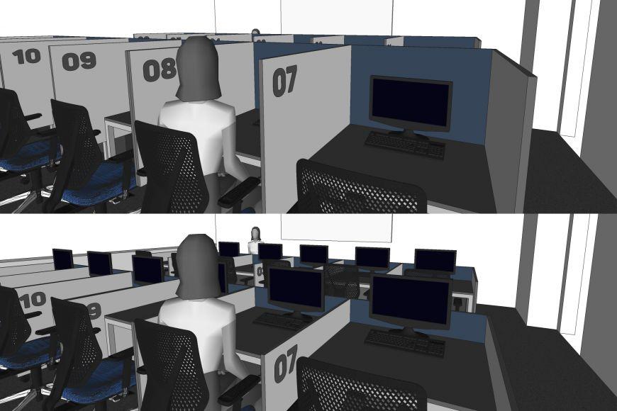 Vizualizace plánované laboratoře pro ekonomické experimenty asimulace.