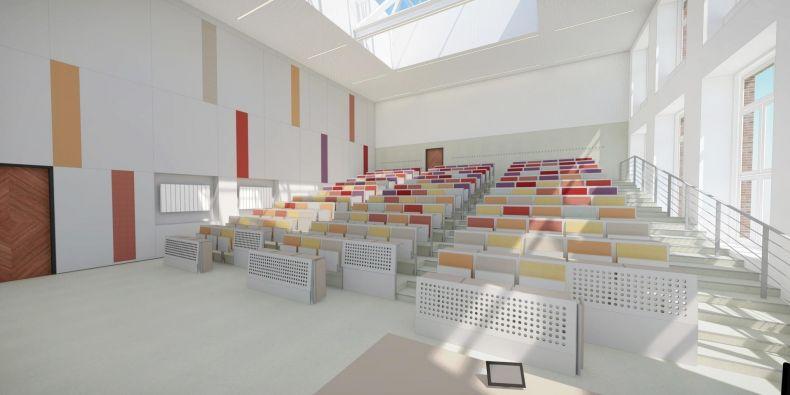 Vizualizace rekonstruované učebny na Právnické fakultě MU.