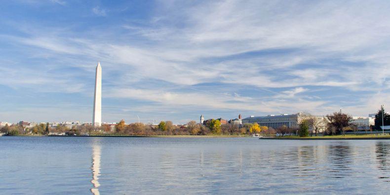 Washingtonův monument na National mall ve Washington DC.