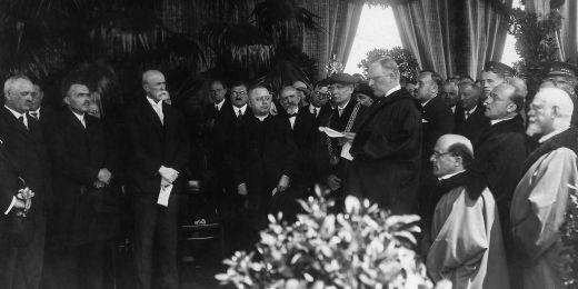 Tomáš Garrigue Masaryk na slavnosti kladení základního kamene Právnické fakulty MU.
