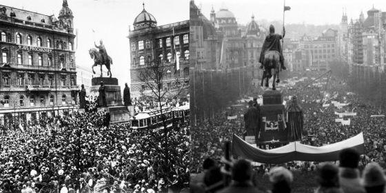 Pokud slavíme rok 1918, připomínáme si především a výsostně také rok 1989. Koláž zachycuje oslavy 28. října 1918 a sametovou revoluci.