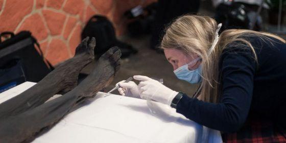 Antropoložka Petra Urbanová z Přírodovědecké fakulty MU provádí fotometrii mumie.
