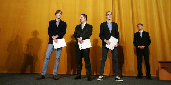 Studentská komora vybrala vítěze ve stejných kategoriích jako u ceny rektora. (zleva) Hynek Cígler, Ondřej Hylse a Valdemar Švábenský.